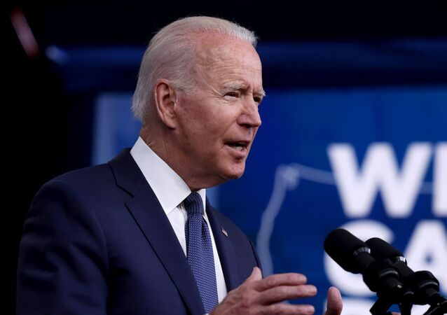 US President Joe Biden delivers remarks on the administration's coronavirus disease (COVID-19) response and the vaccination program from the Eisenhower Executive Office Building's South Court Auditorium at the White House, 6 July 2021.