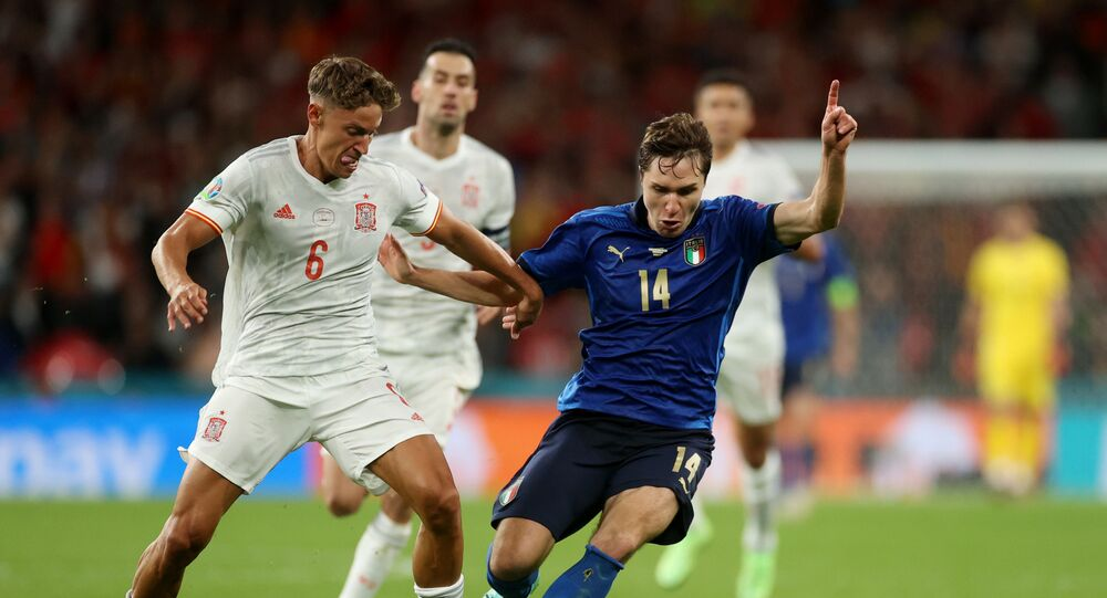 July 6, 2021 Spain's Marcos Llorente in action with Italy's Federico Chiesa