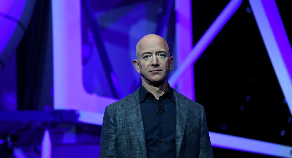 Founder, Chairman, CEO and President of Amazon Jeff Bezos unveils his space company Blue Origin's space exploration lunar lander rocket called Blue Moon during an unveiling event in Washington, U.S., May 9, 2019.