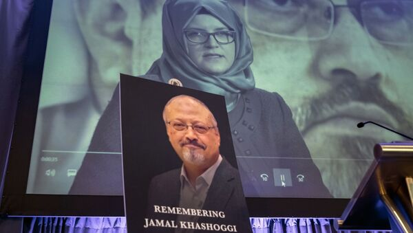 FILE - In this Nov. 2, 2018 file photo, a video image of Hatice Cengiz, fiancee of slain Saudi journalist Jamal Khashoggi, is played during an event to remember Khashoggi, who died inside the Saudi Consulate in Istanbul on Oct. 2, 2018, in Washington - Sputnik International