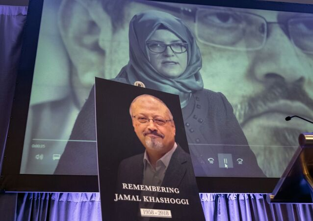 FILE - In this Nov. 2, 2018 file photo, a video image of Hatice Cengiz, fiancee of slain Saudi journalist Jamal Khashoggi, is played during an event to remember Khashoggi, who died inside the Saudi Consulate in Istanbul on Oct. 2, 2018, in Washington