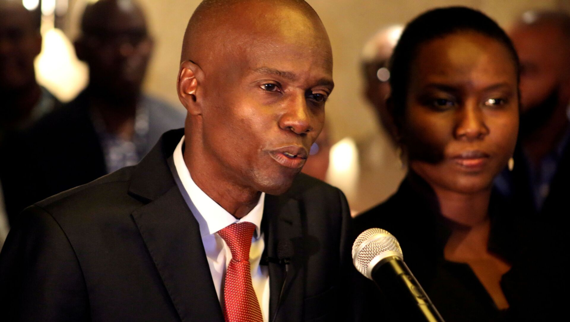 FILE PHOTO: Jovenel Moise addresses the media next to his wife Martine after winning the 2016 presidential election, in Port-au-Prince, Haiti. Picture taken 28 November 2016 - Sputnik International, 1920, 03.08.2021