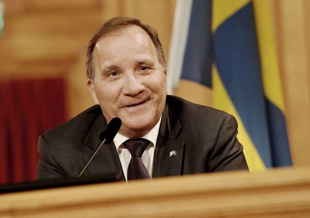 Sweden's Prime Minister Stefan Lofven addresses a press conference on July 5, 2021 in Stockholm. - Sweden's freshly ousted prime minister Stefan Lofven could return as leader after the parliamentary speaker put him forward for a vote for lack of other candidates.