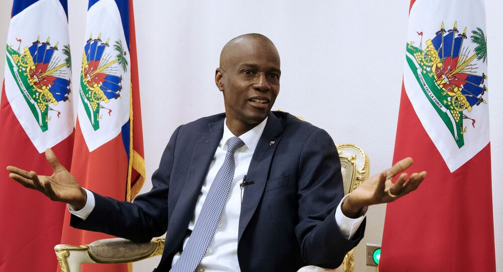 FILE PHOTO: Haiti's President Jovenel Moise speaks during an interview with Reuters at the National Palace of Port-au-Prince, Haiti January 11, 2020. REUTERS/Valerie Baeriswyl/File Photo