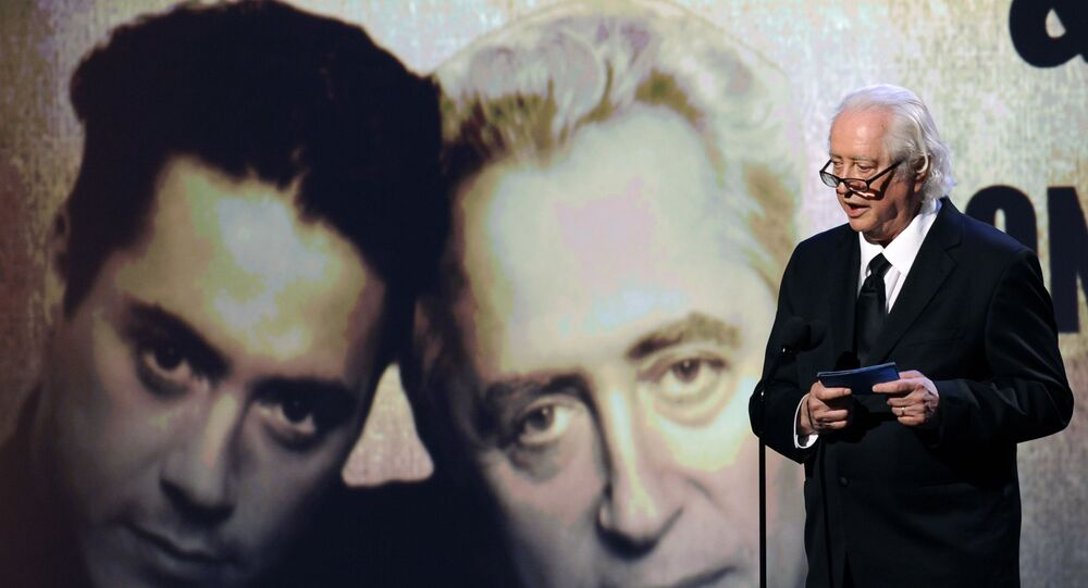 Actor and filmmaker Robert Downey Sr. addresses the audience during the 25th American Cinematheque Award benefit gala honoring his son, actor Robert Downey Jr., Friday, Oct. 14, 2011, in Beverly Hills, Calif.