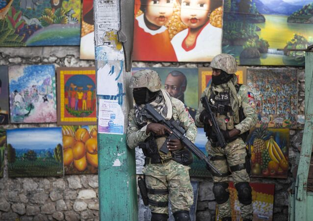 Soldiers patrol in Petion Ville, the neighborhood where the late Haitian President Jovenel Moise lived in Port-au-Prince, Haiti, Wednesday, July 7, 2021.