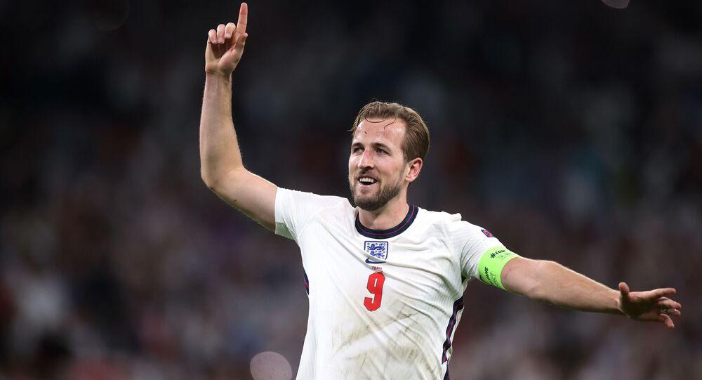 Wembley Stadium, London, Britain - July 7, 2021 England's Harry Kane celebrates after the match