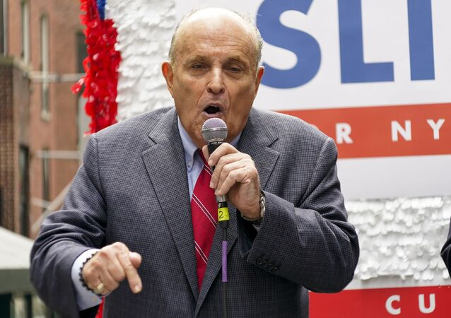 Former New York City Mayor Rudy Giuliani speaks during a campaign event for Republican mayoral candidate Curtis Sliwa, Monday, June 21, 2021, in New York. Giuliani endorsed Sliwa in his bid for mayor.
