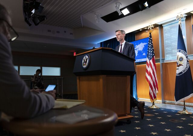 State Department spokesperson Ned Price speaks during a media briefing at the State Department, Wednesday, July 7, 2021, in Washington.