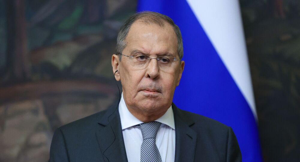 Russian Foreign Minister Sergei Lavrov during a news conference following a meeting with Guatemalan Foreign Minister Pedro Brolo Vila at the Russian Foreign Ministry's Reception House in Moscow.