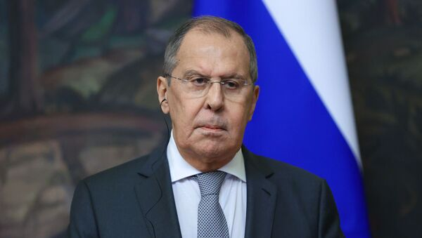 Russian Foreign Minister Sergei Lavrov during a news conference following a meeting with Guatemalan Foreign Minister Pedro Brolo Vila at the Russian Foreign Ministry's Reception House in Moscow. - Sputnik International