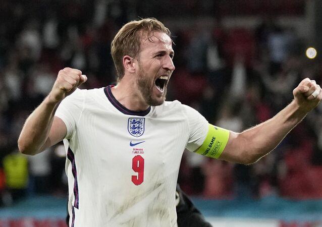 Soccer Football - Euro 2020 - Semi Final - England v Denmark - Wembley Stadium, London, Britain - July 7, 2021 England's Harry Kane celebrates after the match