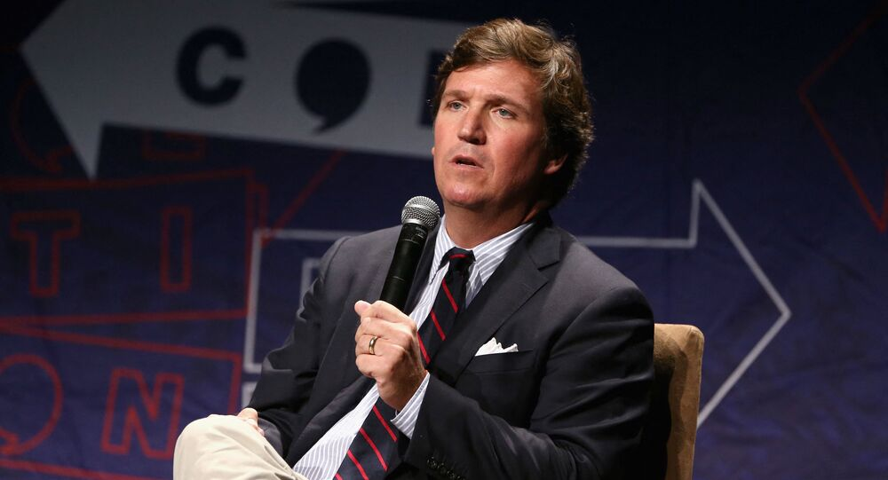 Tucker Carlson speaks onstage during Politicon 2018 at Los Angeles Convention Center on October 21, 2018 in Los Angeles, California