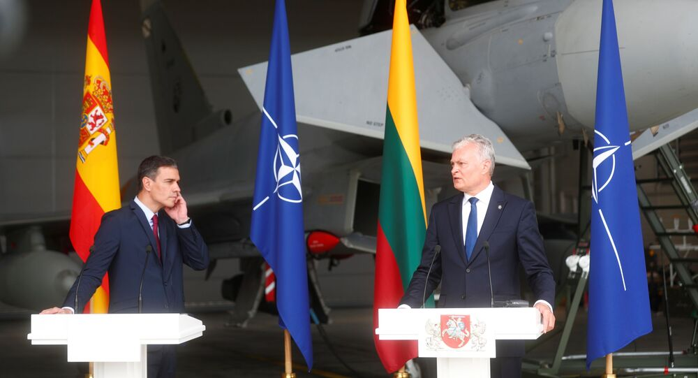 Spanish Prime Minister Pedro Sanchez and Lithuanian President Gitanas Nauseda attend a news conference in Siauliai air base, Lithuania July 8, 2021. REUTERS/IntsKalnins