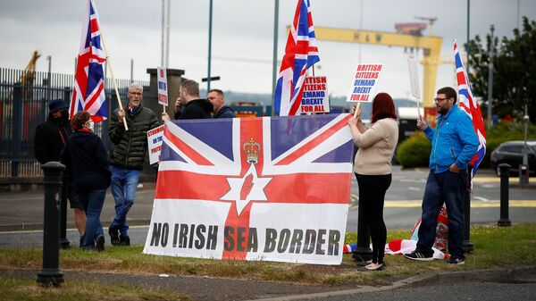Loyalists protest against the Northern Ireland Brexit protocol at Belfast Harbour Estate, in Belfast, Northern Ireland, July 3, 2021 - Sputnik International
