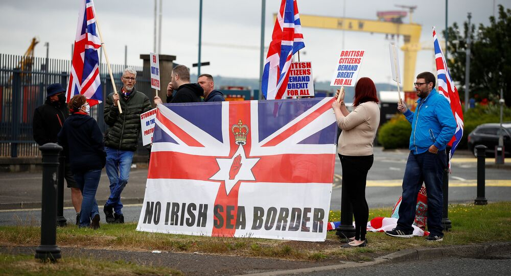 Loyalists protest against the Northern Ireland Brexit protocol at Belfast Harbour Estate, in Belfast, Northern Ireland, July 3, 2021
