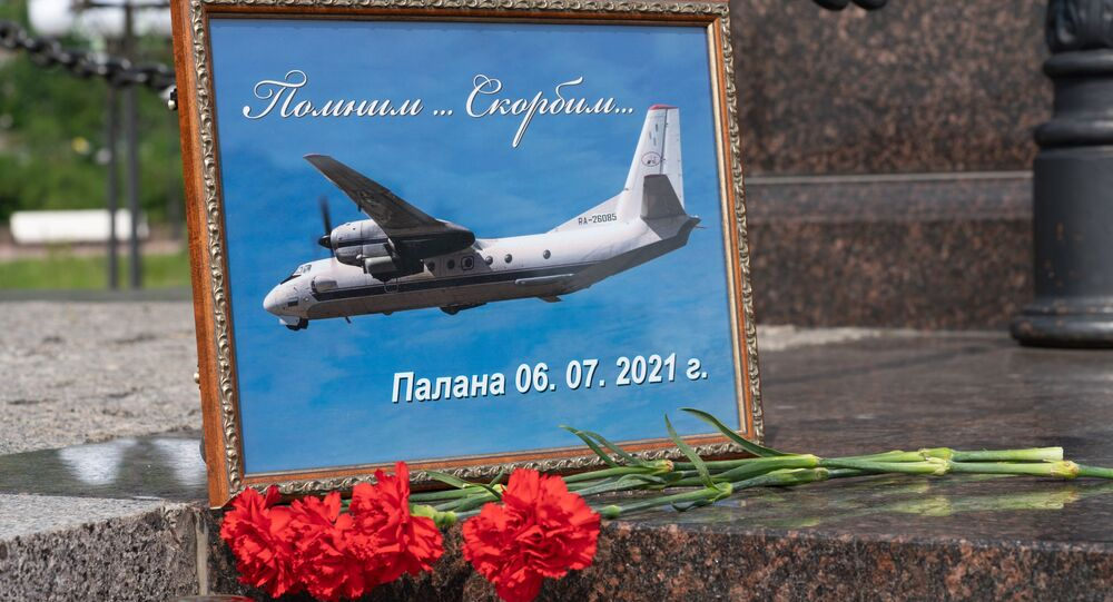 Flowers in memory of those killed in a plane crash in Kamchatka