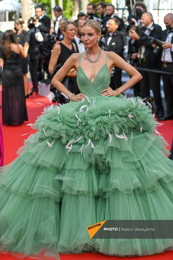 Leonie Hannel arrives on the red carpet before the screening of Everything Went Fine at the 74th annual Cannes Film Festival.