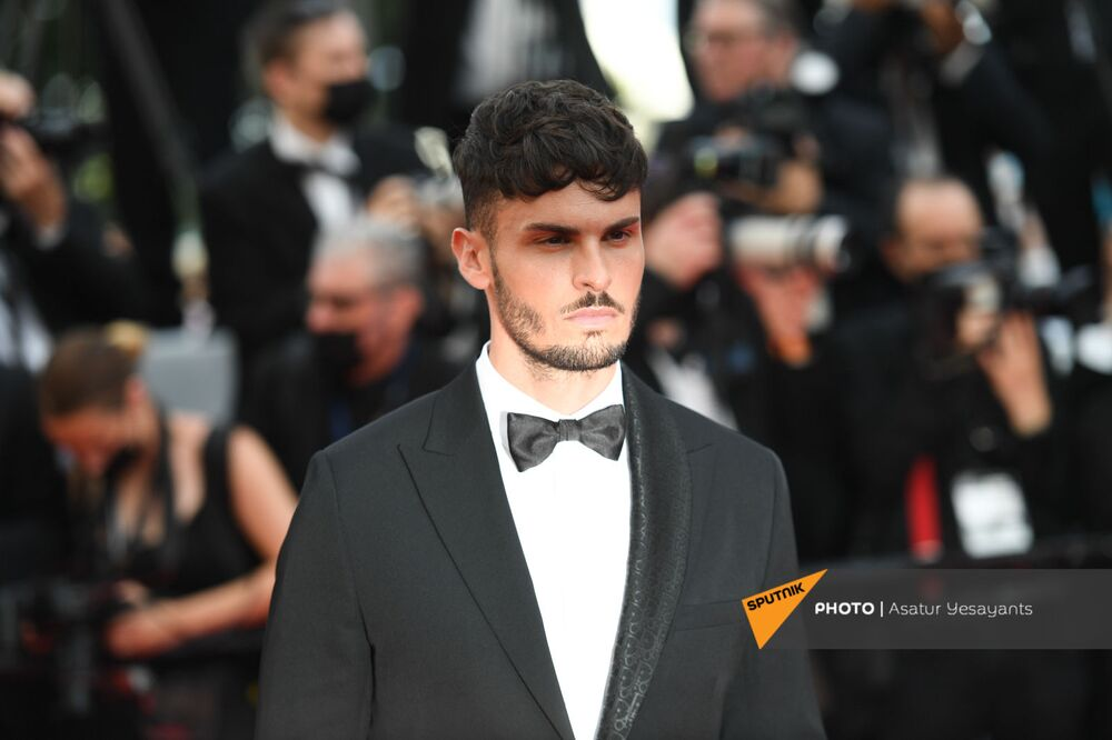 Model Baptiste Giabiconi arrives on the red carpet before the screening of the film Everything Went Fine.