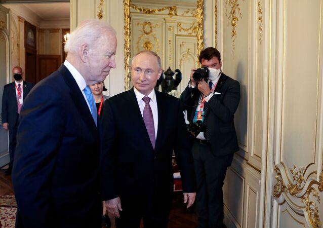 U.S. President Joe Biden and Russia's President Vladimir Putin meet for the U.S.-Russia summit at Villa La Grange in Geneva, Switzerland