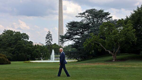U.S. President Joe Biden departs the White House in Washington, U.S., July 9, 2021 for Wilimington, Delaware. - Sputnik International
