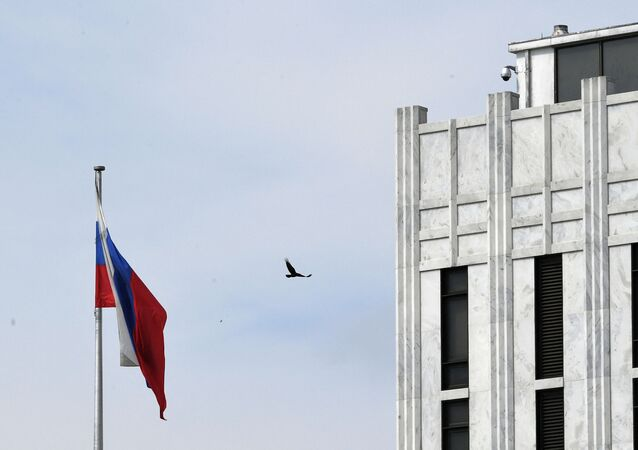 A bird flies past a Russian flag at the Embassy of Russia in Washington, DC on April 15, 2021.