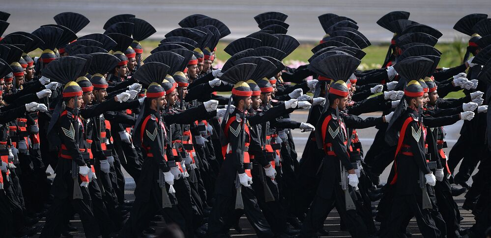 Pakistani rangers march during a military parade in Islamabad.
