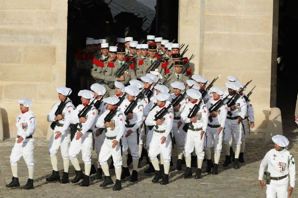 The ceremonial uniform of the French Army Marine Corps.