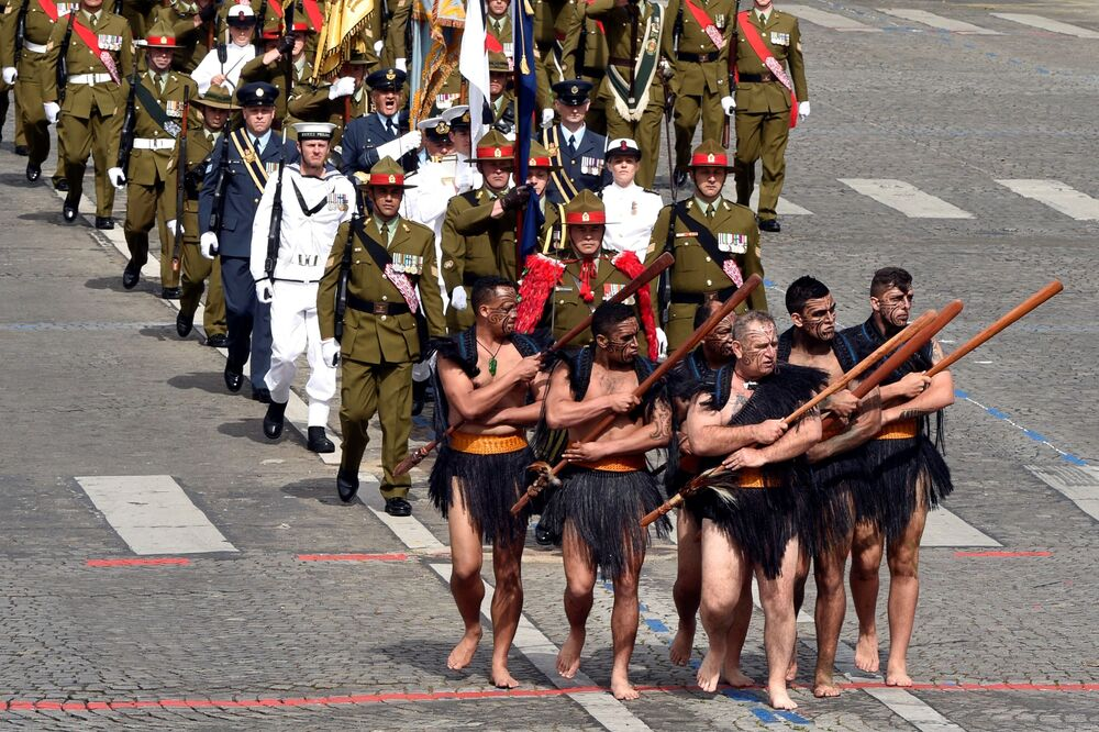Maori soldiers during a military parade in Paris.