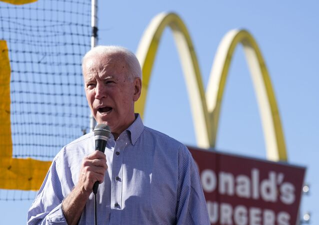 Democratic presidential candidate former Vice President Joe Biden, speaks at a rally in support of McDonald's cooks and cashiers demanding higher wages and union rights, outside a McDonald's restaurant in Los Angeles, Thursday, Dec. 19, 2019
