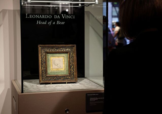 Leonardo da Vinci's 'Head of a Bear' is on display at Christie's on May 11, 2021 in New York City. Christie's will offer the rare 2 ѕ x 2 ѕ inches (7 x 7 cm) silverpoint drawing during a live auction in London on July 8, 2021