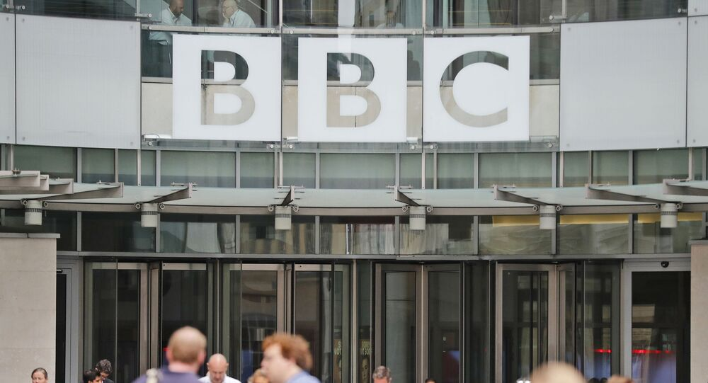 In this file photo dated Wednesday, July 19, 2017, an entrance to the headquarters of the publicly funded BBC in London.