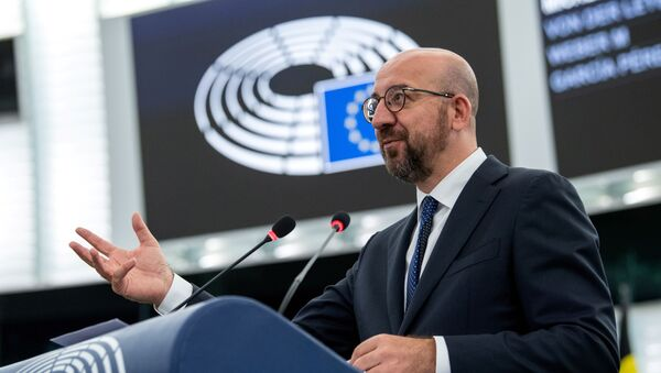 European Council President Charles Michel delivers a speech during a plenary session at the European Parliament in Strasbourg, France, July 7, 2021. - Sputnik International