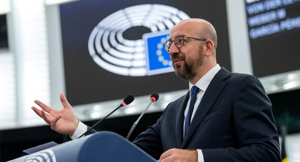 European Council President Charles Michel delivers a speech during a plenary session at the European Parliament in Strasbourg, France, July 7, 2021.