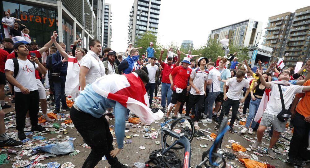 Fans gather for Italy v England - Wembley Stadium, London, Britain - July 11, 2021