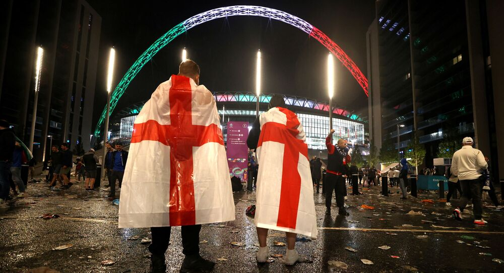 England fans outside Wembley Stadium after Italy wins the Euro 2020 final