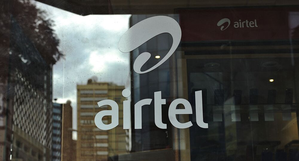 The logo of giant mobile- telecommunications service provider 'Airtel' is branded on a shop window on May 20, 2011 in the Kenyan capital, Nairobi