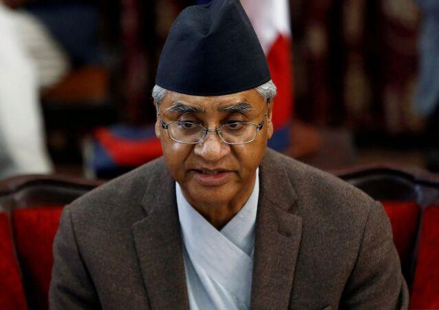 Sher Bahadur Deuba in Kathmandu, Nepal on 15 February 2018.