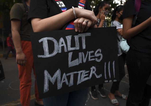 A demonstrator holds a placard reading 'Dalit Lives Matter' (File)
