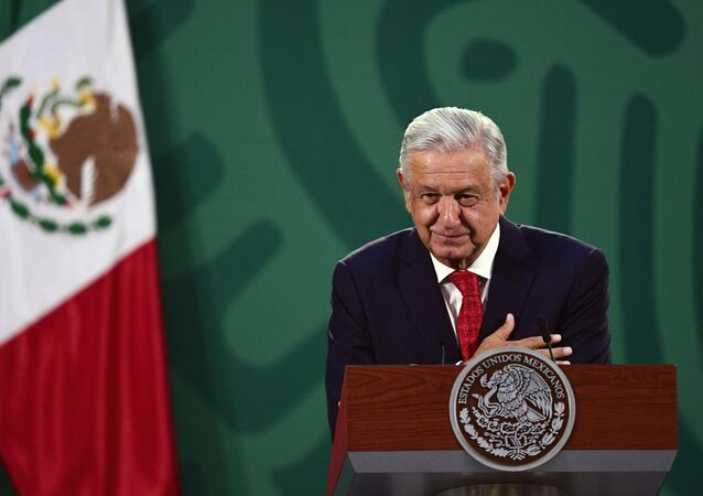 Mexican President Andres Manuel Lopez Obrador delivers a speech during the virtual Earth Day Summit, at the National Palace in Mexico City, on April 22, 2021