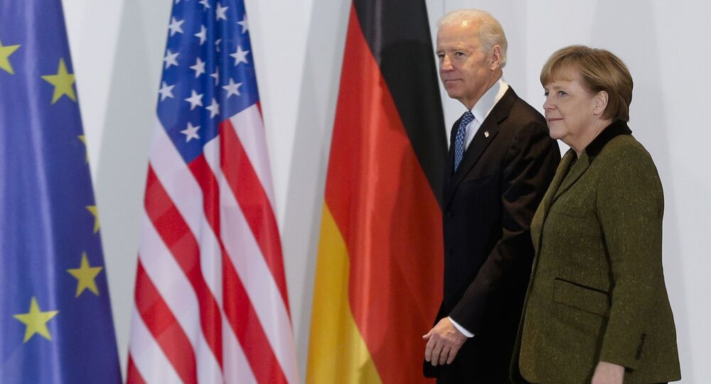 In this Feb. 1, 2013 file photo, German Chancellor Angela Merkel, right, and U.S. Vice President Joe Biden walk at the chancellery in Berlin, Germany. On Biden's first foreign trip as president, he will find many of his hosts in Europe welcoming but wary after a tense four years between Europe and the U.S. under former President Donald Trump. (AP Photo/Markus Schreiber, File)