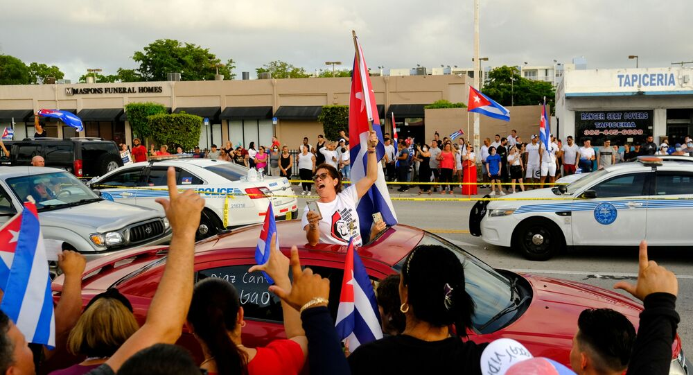 FILE PHOTO: People rally in solidarity with protesters in Cuba, in Little Havana neighborhood in Miami, Florida, U.S. July 12, 2021.
