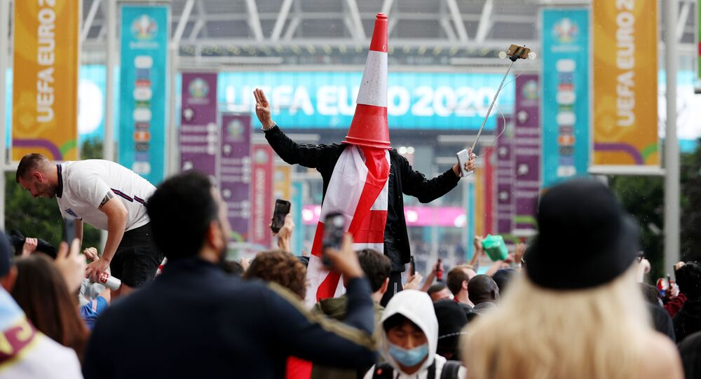 Soccer Football - Euro 2020 - Final - Fans gather for Italy v England - Wembley Stadium, London, Britain - July 11, 2021 Picture taken July 11, 2021 England fans outside Wembley Stadium before the match