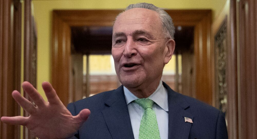 Senate Majority Leader Schumer speaks to news reporters following a deal on infrastructure on Capitol Hill in Washington
