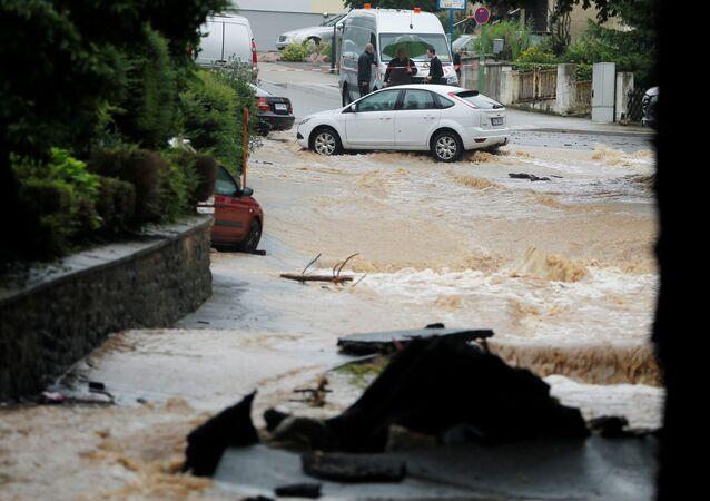 A flooded street is seen following heavy rainfalls in Hagen, Germany, July 14, 2021.   REUTERS/Leon Kuegeler