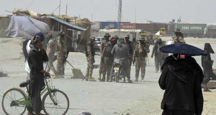 Pakistani troops patrol in the border town of Chaman on July 14, 2021, after the Taliban claimed they had captured the Afghan side of the border crossing of Spin Boldak along the frontier with Pakistan