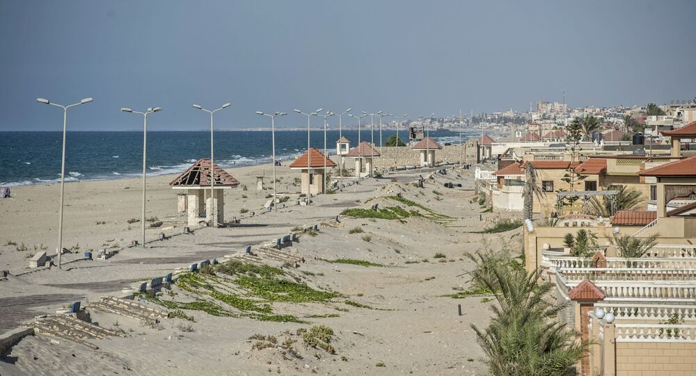 A picture taken on July 26, 2018, during an army-organised tour, shows a general view of the beach of el-Arish city in the northern Sinai Peninsula