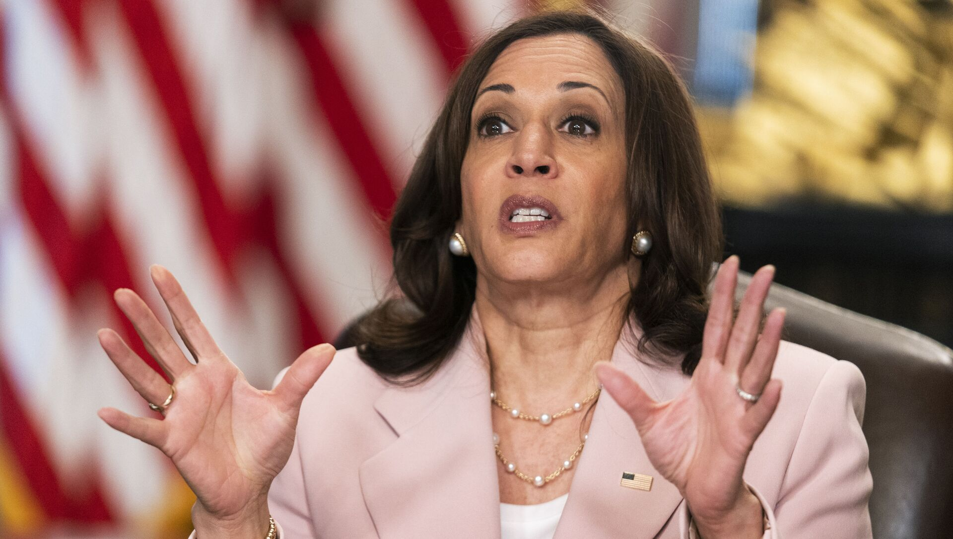Vice President Kamala Harris speaks during a roundtable with disabilities advocates on voting rights in the Vice President's Ceremonial Office at the Eisenhower Executive Office Building on the White House complex, Wednesday, July 14, 2021, in Washington - Sputnik International, 1920, 05.08.2021