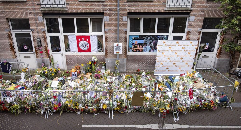 Flowers have been laid in the Lange Leidsedwarsstraat street in tribute to Dutch prominent crime journalist Peter R de Vries who was gunned down in broad daylight on July 6, 2021 on a busy Amsterdam street shortly after leaving a television talk-show, in the center of Amsterdam on July 12, 2021