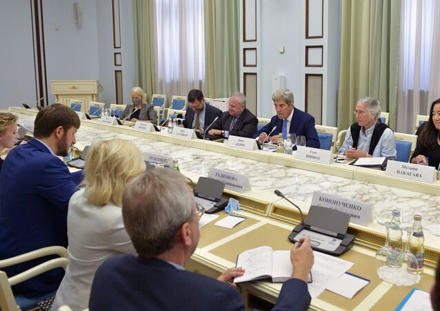 US Special Presidential Envoy for Climate John Kerry and his Russian counterpartRuslan Edelgeriyev meeting in Moscow